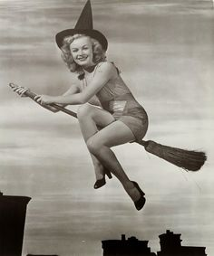 Vintage Flying Old Witch Pinup Black And White Photo