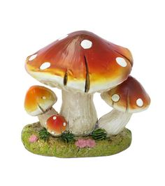 Bloom Room Littles Resin Mushrooms with Moss-Red