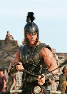 Brad Pitt as Macedonian warrior, Achilles. Though The Iliad is about him, he has. Tyler Durden, Troy Achilles, Troy Movie, Troy Film, Eric Bana, Greek Warrior, Trojan War, Cinema, Pitta