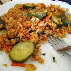 Gedünstete Zucchini mit Tomate und Paprika