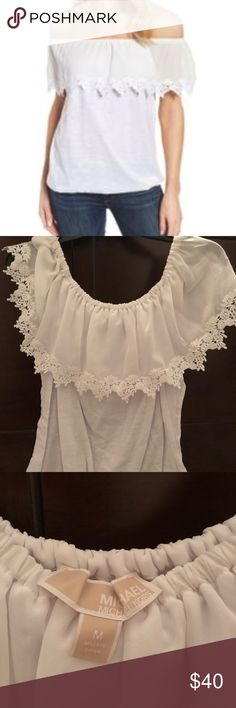 Michael Kors top Cotton off-the-shoulder top in white from Michael Kors. Brand new, never worn, never even tried on. Michael Kors Tops Blouses
