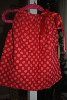 Dresses for girls - Pillowcase Dress - Red with pink polka dot girls tie aline handmade one of a kind unique by rufflesandbowties on Etsy