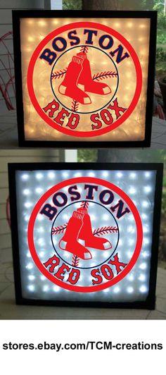 MLB Major League Baseball Boston Red Sox shadow boxes with LED lighting