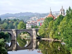Town of Amarante in northern Portugal. Bridge over the Tamega River dates back to roman times. Portugal