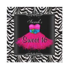 Pink Zebra Sweet Sixteen 16 Birthday Black Dress Personalized Invites by Zizzago