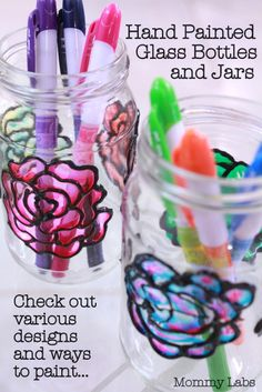 Hand Painted Glass Bottles and Jars. Would be fun to have kids make painted jars as vases for Mother's Day. Painted Glass Bottles, Glass Bottle Crafts, Bottles And Jars, Bottle Art, Glass Jars, Painted Jars, Vases, Fun Crafts, Arts And Crafts