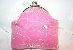 pink purse with white flowers pink clutch by AngelineRosePurse Pink Clutch, Little Bag, Cosmetic Bag, White Flowers, Fashion Backpack, Coin Purse, Make Up, Cosmetics, Purses