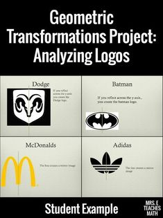 When it comes to my Transformations unit in Geometry, I have a mini-project that I like to use. First, I show different company logos in class and we talk about the different transformations we see Transformations Math, Geometric Transformations, Math Lesson Plans, Math Lessons, Math Resources, Math Activities, Math Games, 8th Grade Math, Sixth Grade