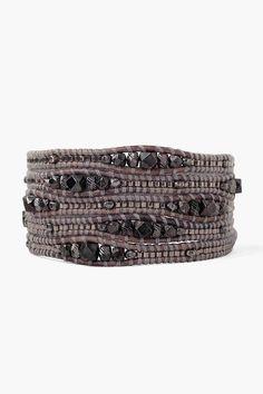 2mm black leather wrap multi-frame wrap bracelet and semi-precious 4mm Jasper black Carnelian and golden brown stone.