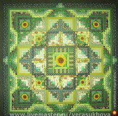 Одеяло 'Подсолнухи' 220х220см - пэчворк, дизайнерские подушки/одеяла/покрывала для дома и интерьера. МегаГрад - город мастеров