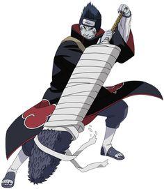 """Kisame Hoshigaki . ( Samehada ) est la plus terrifiante des sept épées, ayant l'apparence d'une gigantesque épée couverte d'écailles de requin sous ses bandages. Elle possède une intelligence propre. Elle se """"nourrit"""" du chakra."""