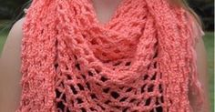 This easy mesh stitch is crocheted into a triangle, to make a lovely shawl. Knotted fringe is then added, to continue with the diamond shape...