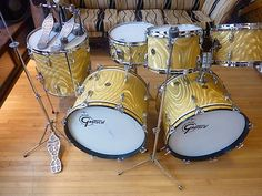 Showroom Condition Vintage 60's Gretsch Round Badge 6pc Drum Set Free Shipping | eBay