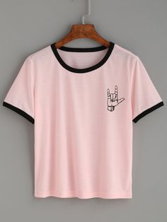 Shop Pink Contrast Trim Love Gesture Print T-shirt online. SheIn offers Pink Contrast Trim Love Gesture Print T-shirt & more to fit your fashionable needs.