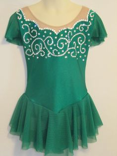 Green Ice Skating Dress with Swarovski Crystals by iceskating, $375.00