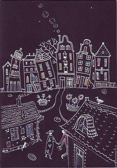 Купить Влюбленные в ночь - черный, ночь, город, сказка, городской пейзаж, домики, любовь, влюбленные