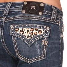 Miss Me Women's Leopard Pony Boot Cut Jeans