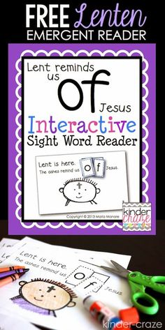 FREE Interactive Sight Word Reader about the Season of Lent. A perfect resource for Catholic and christian Kindergarten teachers.