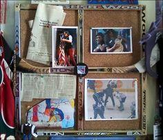 Idea for above desk in hockey bedroom - All For Garden Boys Hockey Bedroom, Hockey Room, Hockey Crafts, Hockey Decor, Crosse De Hockey, Boy Room, Kids Room, Hockey Birthday, Sport Craft