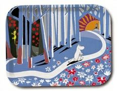 Moomin Flowers Birch wood tray using a Tove Jansson design for Opto Design