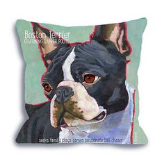 Boston Terrier No. 2 - dog art pillow 18x18 with humorous breed words or customize with your dog's name home decor dog art pet portrait