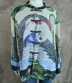 CITRON SANTA MONICA 2X Silk Floral Oriental Asian Kimono Blouse Jacket Reverses #CitronSantaMonica #ButtonDownShirt