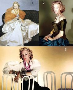 """Millicent Rogers  1. Bernard Boutet de Monvel painting 1940s, Millicent is wearing Charles James. 2. Horst photograph for Vogue, 1948. """"Paris stood up and took notice when Millicent Rogers arrived. They thought she was the first real woman with any style,"""" said Horst. 3. Louise dahl Wolfe  photograph, 1948."""