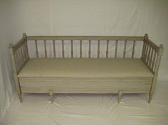 Antique Swedish Gustavian Bench with Original Gray Paint Four Front Legs with Removable Seat which hides Storage Area Swedish, Circa 1900