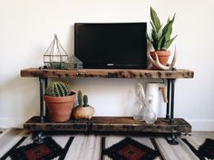 Reclaimed Barn Wood Industrial Pipe Console by IndustrialLegend