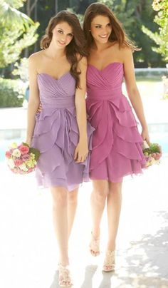 These would be good bridesmaid dresses for a tangled themed wedding.  They remind me of the flowers in her hair.