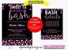 Sweet 16 Birthday Party Invitation Template DIY Editable
