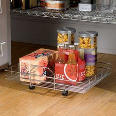 """Chrome Roll-Out Floor Shelf for under kitchen sink, 18"""" deep by 14"""" (expand to 24""""), heavy duty, $59, improvements.com"""