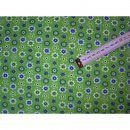 Jerseystoff grün mit Blumen blau gelb weiß. Der Stoff 140cm breit eignet zum Nähen für Mützen oderSchals (Loopschal), Kleider, Jacken, Pullover aber auch zum Kombinieren mit anderen Stoffen und vieles mehr.Material: 95%Baumwolle 5% Elasthan Breite: 140cm Pflege: 30° waschbar
