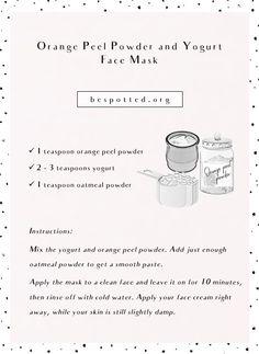 Orange Peel Powder - Benefits for Your Skin & 10 Amazing Recipes - Acne Treatment Orange Peels Uses, Face Mask Peel Off, Yogurt Face Mask, Ayurvedic Home Remedies, Diy Turmeric Face Mask, Natural Acne Treatment, Orange Recipes, Healthy Skin Care, Beauty Secrets