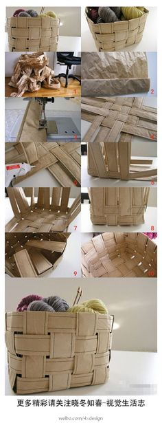 Cesto organizador hecho con tecnica de cesteria y tiras de papel cosidas a maquina.