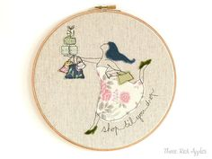 Embroidery Textile Art in a Hoop  'Shop 'til you by ThreeRedApples, £30.00