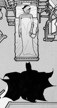 Batman visiting Catwoman in the hospital by Adam Hughes