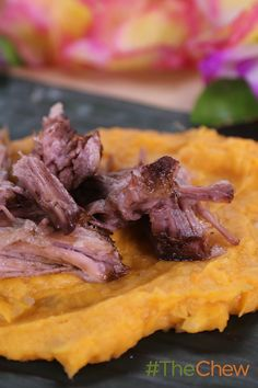 Pull up your grass skirts and serve up this tasty Kalua Pork with Mashed Sweet Potatoes dish for your next luau! #TheChew
