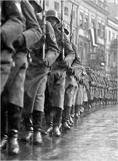 """Martin Munkácsi - Opening of Parliament on March 21, 1933, 'Potsdam Day'—""""The German Army marches out,"""" 1933"""