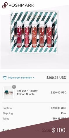 Spice lip set Kylie Cosmetics •Size: one size •Brand: Kylie Cosmetics  •Condition: NEW   ❗️$20 each or buy listing for all  • juniper  •holly berry  •cinnamon  •goals  •clove  ❗️100% Authentic  ❗️Will ship as soon as I receive  ❌No trades! No lowest! No lowballers!  ❤️Please be respectful and don't leave any rude comments!  ❤️Free sticker(s) will be given with each purchase Kylie Cosmetics Makeup Lipstick