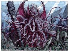 """It's well known that the great Cthulhu has a particular bond with artists of all sorts. Lovecraft's """"The Call of Cthulhu"""" it's docu. H.p. Lovecraft, Lovecraft Cthulhu, Cthulhu Art, Yog Sothoth, Graffiti, Lovecraftian Horror, Eldritch Horror, Beast Creature, Call Of Cthulhu"""