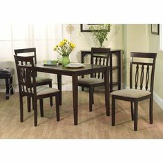 5-Piece Carson Dining Set in Espresso by TMS. $316.99. 24015ESP Features: -Contemporary chair features needle eye design on back and tapered legs. Includes: -Set includes one shaker dining table and four dining chairs. Options: -Polyurethane foam padded chair seat upholstered in neutral color fabric. Construction: -Constructed of Solid rubber wood. Color/Finish: -Espresso finish. Assembly Instructions: -Some assembly required. Dimensions: -Dining table dimensions: ...