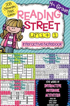 4th Grade Reading Street Interactive Notebook: Unit 1.  THREE activities for FIVE weeks!!  Perfect for Whole group, Small group, Independent Work.