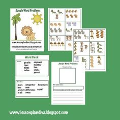 Here's a nice set of picture cards and work mat for students to work on writing their own number sentences.