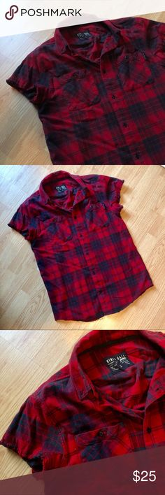 6e56fda7812 NINTH HALL RED SHORT SLEEVED FLANNEL NINTH HALL RED AND BLACK SHORT SLEEVED  FLANNEL. THE
