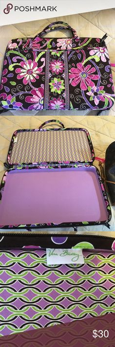 Vera Bradley computer case This holds up to a 16 inch computer. Been  carried maybe 3 times. Just like new... there is no a shoulder strap. Vera Bradley Bags Laptop Bags