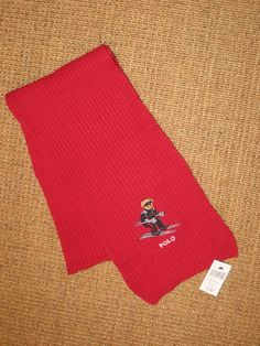 POLO RALPH LAUREN   SKI  BEAR SCARF RED  LIMITED EDITION  WINTER  COTTON NEW #PoloRalphLauren #Scarf