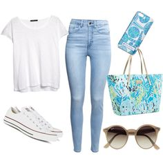classicly preppy by lilycarpenter on Polyvore featuring polyvore, fashion, style, MANGO, H&M, Converse, Lilly Pulitzer, Ray-Ban and comfybutcute