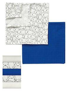Blue Mix 5 Pack Pure Cotton Penguin Muslin Squares