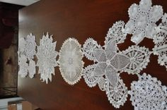 vintage lace table runners- lace doilies tacked together.